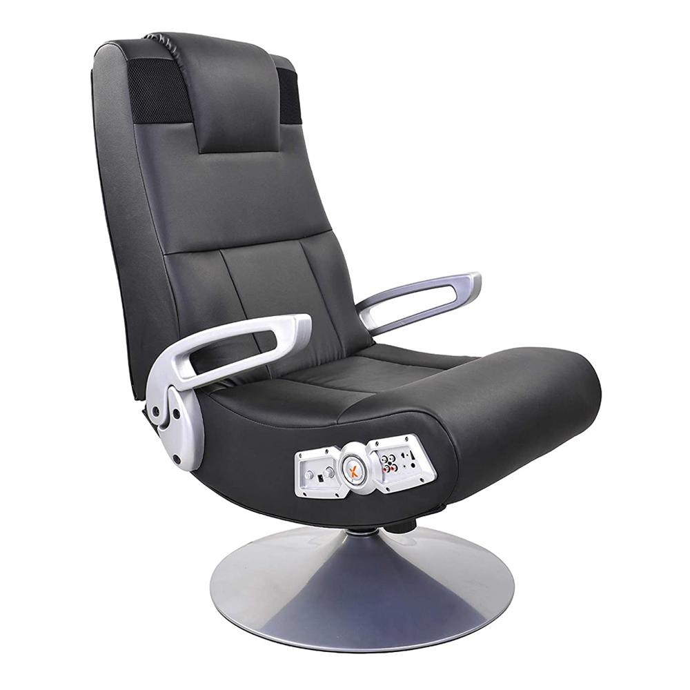 X Rocker Black Leather Video Gaming Chair
