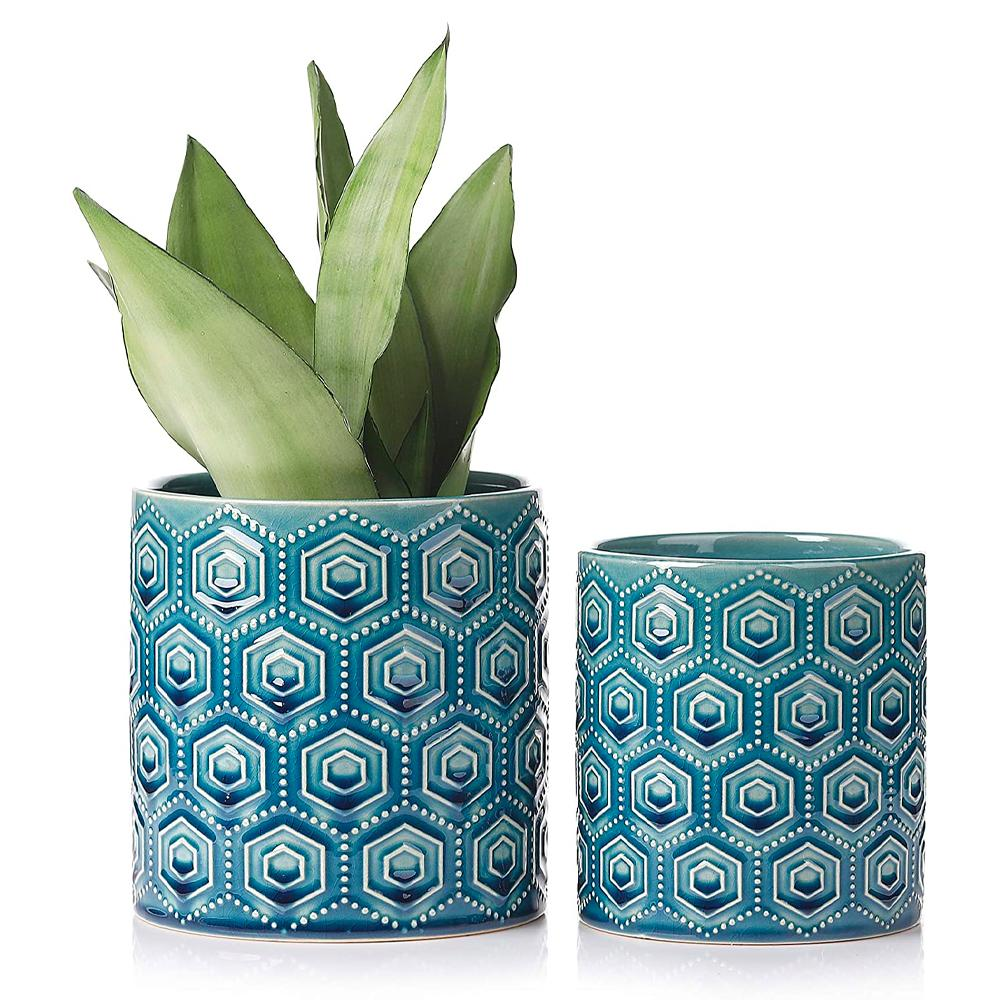 Hexagon Pattern Ceramic Pots