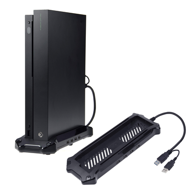 This $5 AmazonBasics vertical stand for Xbox One X doubles as a USB hub