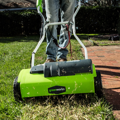 Become Your Own Landscaper With The 85 Greenworks 14 Inch Corded Dethatcher