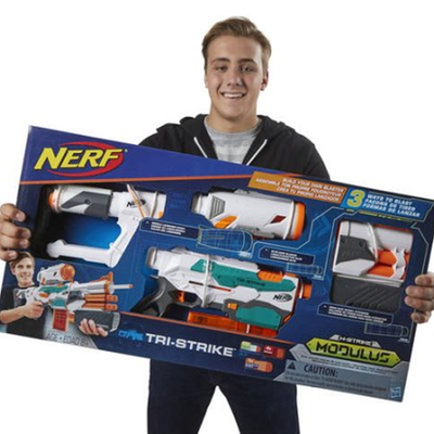 Add a free pack of darts when you order the $37 Nerf Modulus Tri-Strike  Blaster