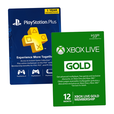 Discounts on PlayStation Plus and Xbox Live Gold memberships