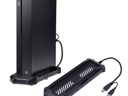 This $14 AmazonBasics vertical stand for Xbox One X doubles as a USB hub