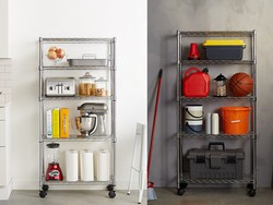 Put an end to the messy garage with this $39 5-shelf wire rack
