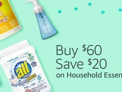 Spend $60 on cleaning supplies and other everyday essentials to save $20
