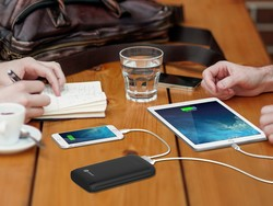 You can charge this 15000mAh power bank via Lightning, MicroUSB, or both