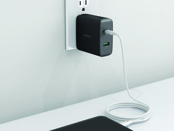 Aukey's $24 two-port wall charger has a Power Delivery USB-C port