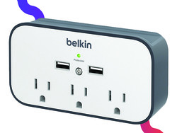 This $18 Belkin surge protector adds extra outlets, USB ports, and a phone cradle to your wall
