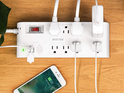 Plug in USB cables and more to this 8-outlet Surge Protector Power Strip for $19