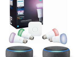 This $180 Philips Hue A19 Smart Bulb Starter Kit comes with two Amazon Echo Dot speakers