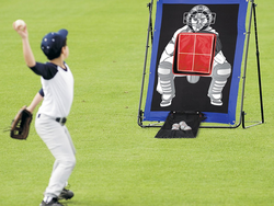 Warm up for the big league with the $18 MLB Baseball Pitch Target Trainer & Pitch Back Set