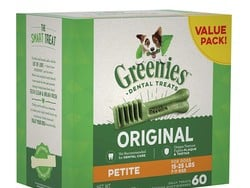 Get rid of the puppy breath with 60 Greenies Petite dog treats for $21