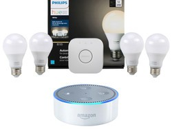 This $130 Philips Hue Starter Kit bundle includes four smart bulbs and an Amazon Echo Dot