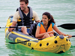Hop in the water with the $80 Intex Explorer K2 2-Person Inflatable Kayak Set
