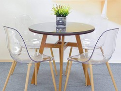 Four luxe GreenForest Acrylic Lucite Chairs are just $162