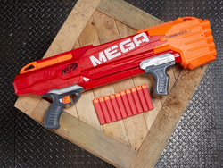 The $14 Nerf N-Strike Mega TwinShock can hold ten darts at once