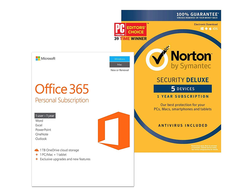 This one-day discount offers Microsoft Office 365 Personal and Norton Security Deluxe for $75
