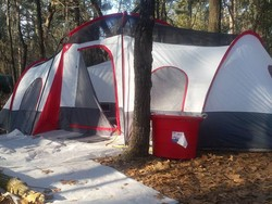Take a trip and stay awhile with the $90 Ozark Trail 10-person 3-room cabin tent