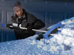 Outsmart the storms thanks to almost 40% off the Snow Joe Pro LED 4-in-1 Snow Broom and Ice Scraper