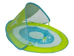Float your little one around in this $14 SwimWays baby float sun canopy