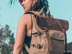 This stylish $35 Leather Canvas Backpack looks vintage but fits a laptop