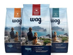 Pick up three 5-pound bags of Amazon Wag Dry Dog Food for half off right now