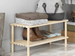 Tackle your front entryway clutter with this inexpensive $5 Whitmor 2-Tier Household Shelf