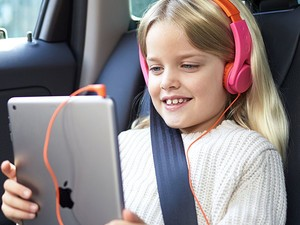 These $10 AmazonBasics Kid-Safe Headphones will give you peace & quiet and peace of mind