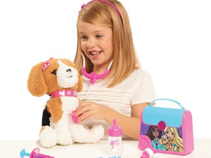 Live out your dream of being a vet with the $15 Barbie Kiss & Care Pet Doctor Set