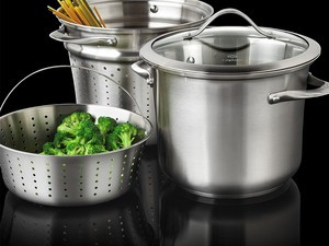 This $66 Calphalon 8-quart pot comes with a glass lid, two inserts, and great reviews