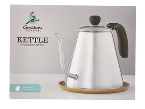 Start your mornings off right with the stainless steel Caribou Coffee 34oz Kettle for $15