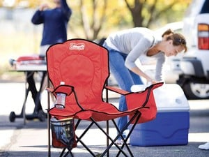Sit down and stay there thanks to the cooler on this $18 Coleman over-sized chair