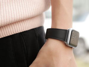 Switch out your Apple Watch band with Covery's black leather version for $4