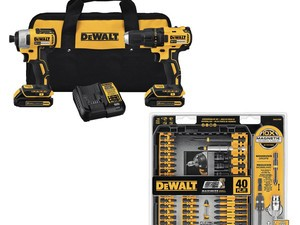 Grab DeWalt's drill and impact combo kit with a 40-piece bit set for $165