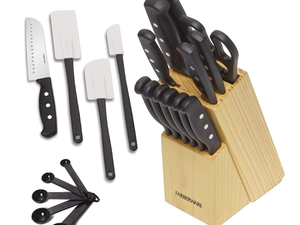 Farberware's $14 Stainless Steel Knife Block Set comes with extra kitchen essentials
