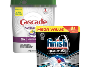 Leave your dishes sparkling clean with 82 Finish Quantum Dishwasher Detergent Tabs for $12