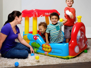 Kids can play conductor with this $20 Fisher-Price Train Inflatable Ball Pit