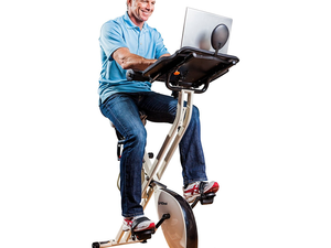 Find time to workout and get your work done with the $161 FitDesk Exercise Bike with Massage Bar