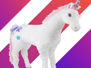 A giant stuffed unicorn can be yours for only $52