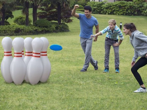 You won't have to worry about the gutters with this $5 Jumbo Lawn Bowling set