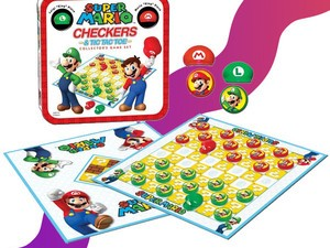 The $15 Super Mario Checkers/Tic Tac Toe Combo has 2 games in 1