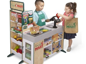 Take playtime to new levels with this $147 Melissa & Doug Freestanding Wooden Grocery Store