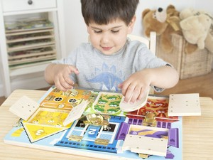 Have fun with this $12 Melissa & Doug Latches Wooden Activity Board