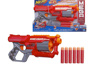 Nerf fanatics can score with the well-reviewed Mega CycloneShock Blaster for $12