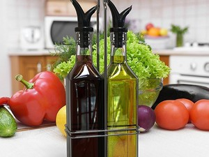 This $9 Oil & Vinegar Bottle Set will make your food fancier