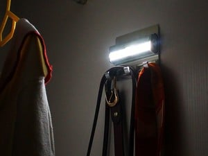This $10 OxyLED rack has a motion-sensing night light and coat hooks