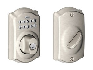 This satin nickel Schlage Camelot keypad deadbolt is only $76 right now
