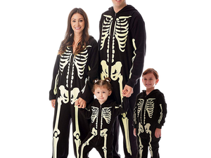 Join the skeleton crew with these discounted glow-in-the-dark Halloween costumes for the family