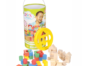 Spark creativity with this $10 Wooden Blocks 150-piece canister