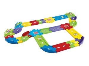 Your little train enthusiast will love this $10 VTech Deluxe Track Set